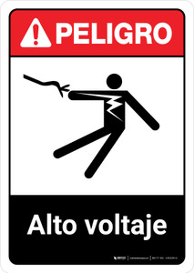 Danger: High Voltage Spanish with Icon ANSI Portrait - Wall Sign