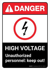 Danger: High Voltage Unauthorized Personnel Keep Out with Icon ANSI Portrait - Wall Sign