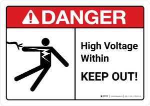 Danger: High Voltage Within Keep Out with Icon ANSI Landscape - Wall Sign