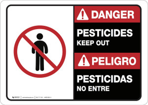 Danger: Pesticides Keep Out Bilingual ANSI - Wall Sign