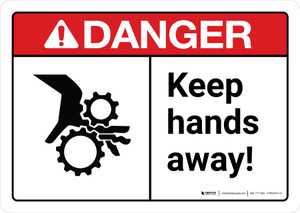 Danger: Keep Hands Away with Icon ANSI Landscape - Wall Sign