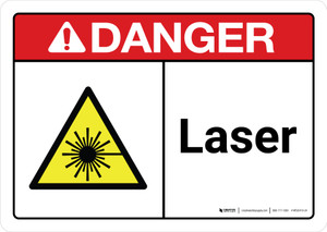 Danger: Laser with Icon ANSI Landscape - Wall Sign