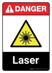 Danger: Laser with Icon ANSI Portrait - Wall Sign
