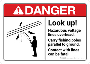 Danger: Look Up Hazardous Voltage Lines Overhead Fishing Poles with Icon ANSI Landscape - Wall Sign