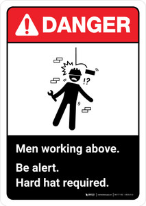 Danger: Men Working Above Hard Hat Required with Icon ANSI Portrait - Wall Sign