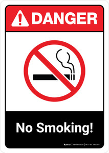 Danger: No Smoking with Icon ANSI Portrait - Wall Sign