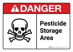 Danger: Pesticide Storage Area Sign with Icon ANSI Landscape - Wall Sign