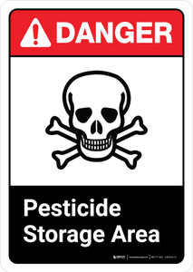 Danger: Pesticide Storage Area Sign with Icon ANSI Portrait - Wall Sign