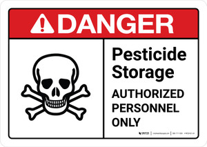Danger: Pesticide Storage Authorized Personnel Only with Icon ANSI Landscape - Wall Sign