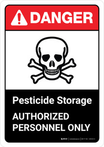 Danger: Pesticide Storage Authorized Personnel Only with Icon ANSI Portrait - Wall Sign