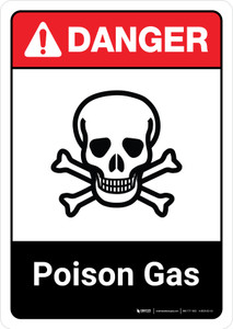 Danger: Poison Gas with Icon ANSI Portrait - Wall Sign
