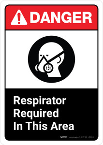Danger: Respirator Required Area Sign with Icon ANSI Portrait - Wall Sign