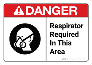 Danger: Respirator Required in This Area with Icon ANSI Landscape - Wall Sign