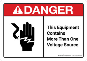 Danger: This Equipment Contains More Than One Voltage Sources with Icon ANSI Landscape - Wall Sign