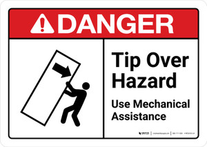Danger: Tip Over Hazard Use Mechanical Assistance with Icon ANSI Landscape - Wall Sign