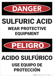 Danger: Sulfuric Acid Bilingual - Wall Sign