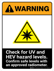 Warning: ISO Check For UV And HEV Hazard Levels - Confirm with Approved Radiometer ANSI Portrait - Wall Sign