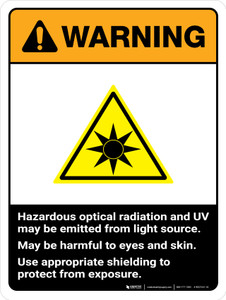 Warning: ISO Hazardous Optical Radiation ANSI May be Harmful to Eyes and Skin Portrait - Wall Sign
