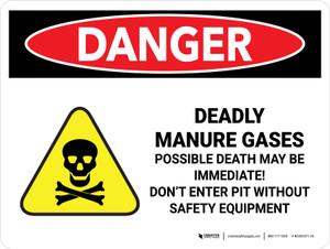 Danger: Deadly Manure Gases Landscape - Wall Sign