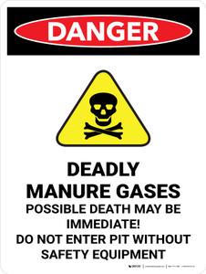 Danger: Deadly Manure Gases Portrait - Wall Sign