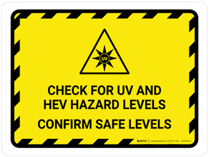 Check For UV And HEV Hazard - Confirm Safe Levels Landscape - Wall Sign