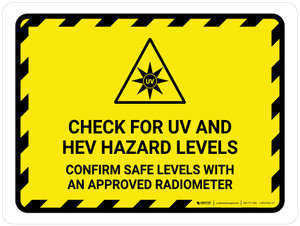Check For UV And HEV Hazard Landscape - Wall Sign