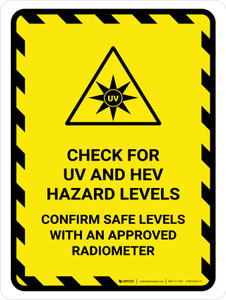 Check For UV And HEV Hazard Portrait - Wall Sign