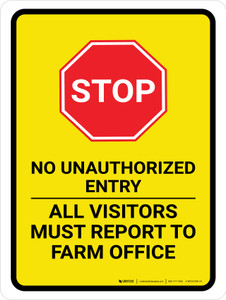 No Unauthorized Entry All Portrait - Wall Sign