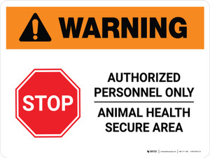 Warning: Stop - Authorized Personnel Only Landscape - Wall Sign