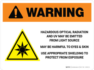 Warning: ISO Hazardous Optical Radiation Label Landscape - Wall Sign