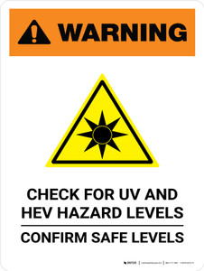 Warning: Check For UV And HEV Hazard Levels Portrait - Wall Sign