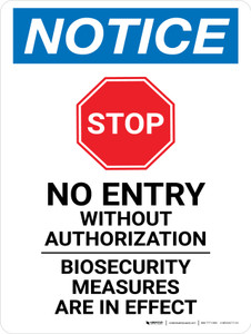 Notice: Stop - No Entry Biosecurity Measures Are In Effect Portrait - Wall Sign