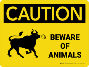 Caution: Beware Of Animals Landscape - Wall Sign