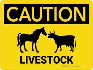 Caution: Livestock Landscape - Wall Sign