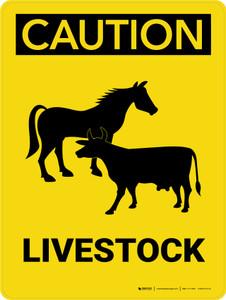 Caution: Livestock Portrait - Wall Sign