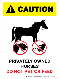 Caution: Privately Owned Horses Do Not Pet Or Feed Portrait - Wall Sign