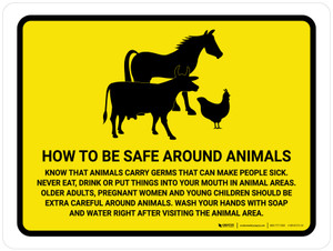 How To Be Safe Around Animals Yellow Landscape - Wall Sign