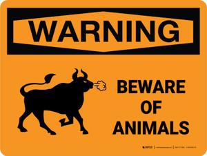 Warning: Beware Of Animals Landscape - Wall Sign