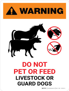 Warning: Do Not Pet or Feed Livestock or Guard Dogs Portrait - Wall Sign