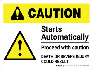 Caution: Starts Automatically - Proceed with Caution Landscape - Wall Sign