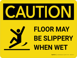 Caution: Floor May Be Slippery When Wet with Icon Landscape - Wall Sign