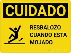 Caution: Floor Slippery When Wet Spanish with Icon Landscape - Wall Sign