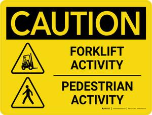 Caution: Forklift Activity Pedestrian Activity Landscape - Wall Sign