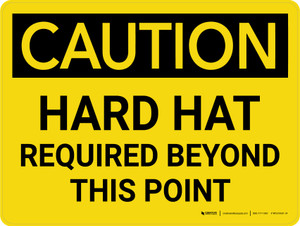 Caution: Hard Hat Required Beyond Point Landscape - Wall Sign