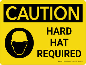 Caution: Hard Hat Required with Graphic Landscape - Wall Sign