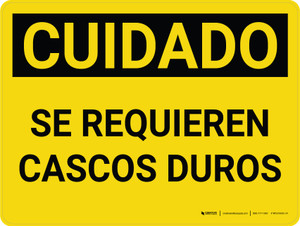 Caution: Hard Hats Required Spanish Landscape - Wall Sign