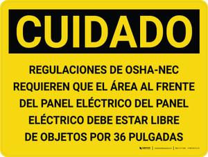 Caution: OSHA NEC Regulations Requires Spanish Landscape - Wall Sign