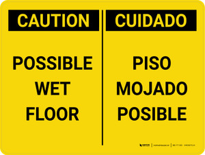 Caution: Possible Wet Floor Bilingual Spanish Landscape - Wall Sign