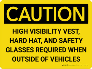 Caution: PPE Required When Outside of Vehicles Landscape - Wall Sign