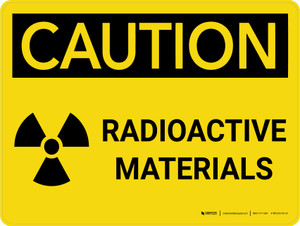 Caution: Radioactive Materials with Icon - Wall Sign